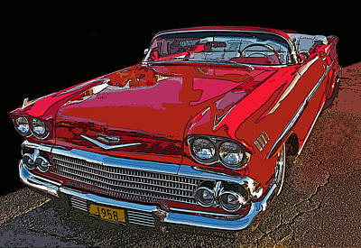 1958 Red Chevrolet Impala Convertible Print by Samuel Sheats