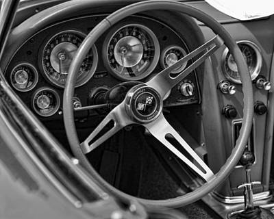 1963 Chevy Corvette Steering Wheel And Dash Board Black And White Original by Gordon Dean II