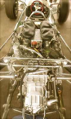 Lotus Racecar Photograph - 1967 Graham Hill Lotus Cosworth 49 Engine And Chassis by John Colley