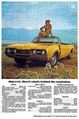 Advertisement Digital Art - 1968 Oldsmobile 4-4-2 - Here's What's Behind The Reputation. by Digital Repro Depot