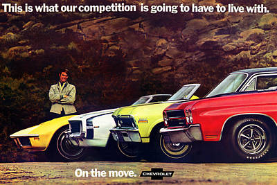 Advertisement Digital Art - 1970 Chevrolet Lineup - This Is What Our Competition Is Going To Have To Live With. by Digital Repro Depot