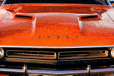 1971 Dodge Challenger - Orange Mopar Typography - Mp002 Original by Gordon Dean II