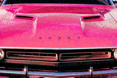 1971 Dodge Challenger - Pink Mopar Typography Original by Gordon Dean II