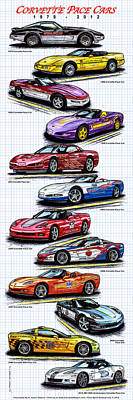 Special Edition Corvettes Drawing - 1978 - 2008 Indy 500 Corvette Pace Cars by K Scott Teeters
