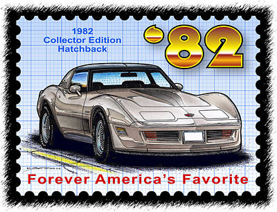Special Edition Corvettes Drawing - 1982 Collector Edition Hatchback Corvette by K Scott Teeters