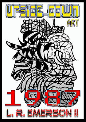 U2 Drawing - 1987 Upside-down Art By Masg Artist L R Emerson II by L R Emerson II