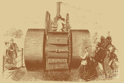 1866 Steam Road Roller Print by Science Source