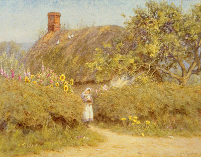 Surrey Painting - A Surrey Cottage by Helen Allingham