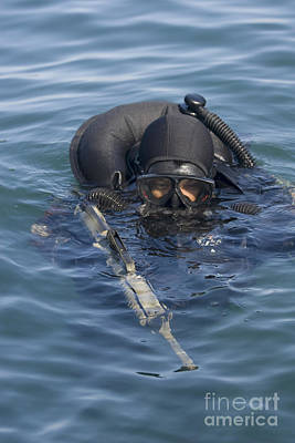 A U.s. Navy Seal Combat Swimmer Print by Michael Wood