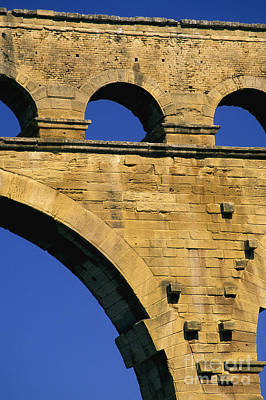 Aqueduc Du Pont Du Gard.provence Print by Bernard Jaubert