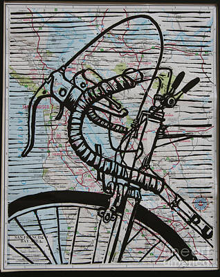 Linoluem Drawing - Bike 2 On Map by William Cauthern