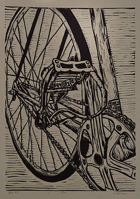 Lino Drawing - Bike 3 by William Cauthern