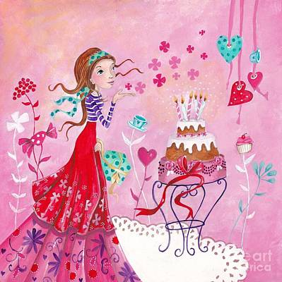 Fairy Hearts Pink Flower Painting - Birthday Girl by Caroline Bonne-Muller