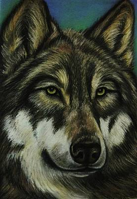 Blue Wolf Print by Lucy Deane