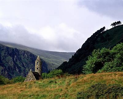 Chapel Of Saint Kevin At Glendalough Print by The Irish Image Collection