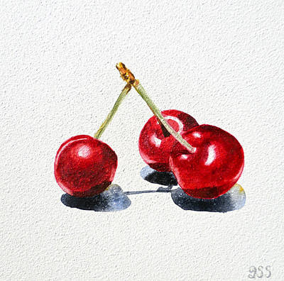 Red Fruit Painting - Cherries by Irina Sztukowski