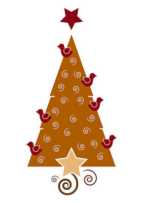Graphic Drawing - Christmas Tree by Frank Tschakert