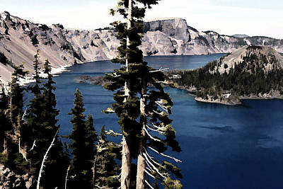 Crater Digital Art - Crater Lake by Bonnie Bruno