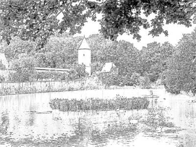 Duck Pond Dinkelsbuhl Germany Print by Joseph Hendrix