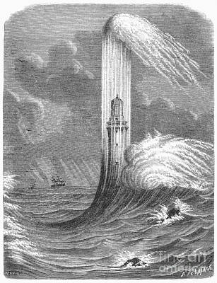 1759 Photograph - Eddystone Lighthouse, 1759 by Granger