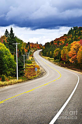 Asphalt Photograph - Fall Highway by Elena Elisseeva