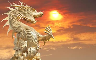 Giant Golden Chinese Dragon Original by Anek Suwannaphoom
