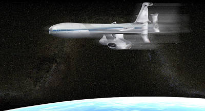High Altitude Flying Photograph - High Altitude Passenger Plane, Artwork by Christian Darkin