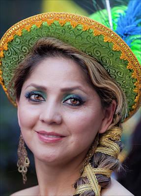 Femal Photograph - Hispanic Columbus Day Parade Nyc 11 9 11 Female Marcher by Robert Ullmann