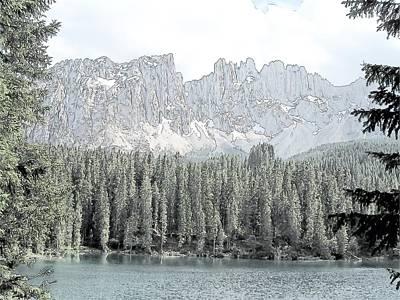 Lake Carezza Dolomites Italy  Print by Joseph Hendrix