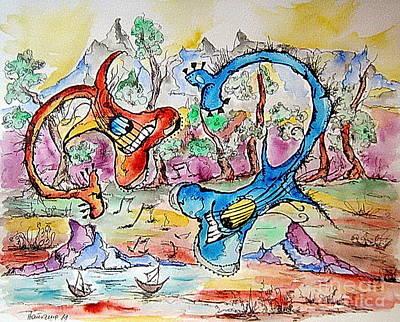 Loch Ness Guitars Print by Natasa Dobrosavljev