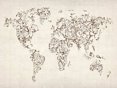 Flourish Digital Art - Map Of The World Map Floral Swirls by Michael Tompsett