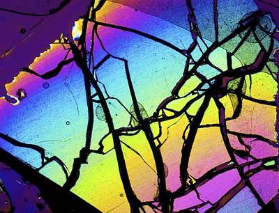 Peridot Photograph - Meteor Jepara, Thin Section, Micrograph by Pasieka