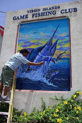 Mural In St Thomas Print by Carey Chen