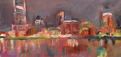 Nashville Painting - Nashville Skyline by Wendi Strauch Mahoney