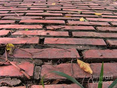Burned Clay Photograph - Old Red Brick Road by Yali Shi