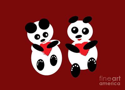 Friendly Digital Art - 2 Pandas In Love by Ausra Huntington nee Paulauskaite