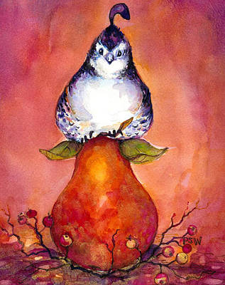 Partridge Painting - Partridge And Pear by Peggy Wilson