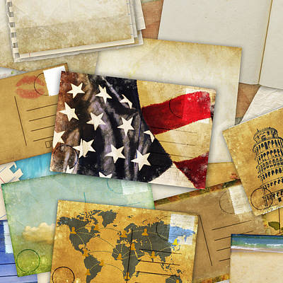 Postcard And Old Papers Print by Setsiri Silapasuwanchai