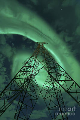 Polar Aurora Photograph - Powerlines And Aurora Borealis by Arild Heitmann