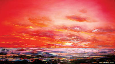 Red Sunset Print by Gina De Gorna