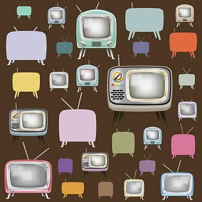 retro TV pattern  Print by Setsiri Silapasuwanchai