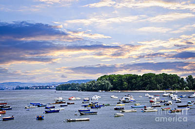 River Boats On Danube Print by Elena Elisseeva