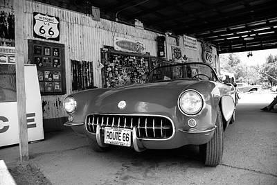 Route 66 Corvette Print by Frank Romeo