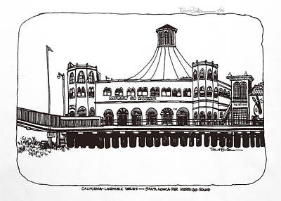 Santa Monica Drawing - Santa Monica Pier Merry-go-round by Robert Birkenes