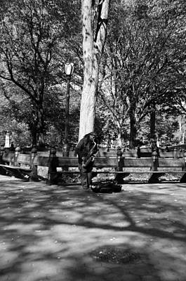 Saxaphones Digital Art - Sax Man Of Central Park In Black And White by Rob Hans
