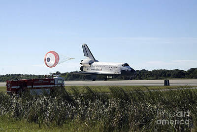 Space Shuttle Atlantis Unfurls Its Drag Print by Stocktrek Images