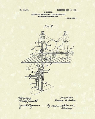 Magician Drawing - Stage Illusions 1906 Patent Art by Prior Art Design