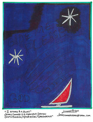 Primitive Drawing - 2 Stars And A Boat by Jerry Conner