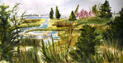 Bayville Painting - Swamp Sail by Clara Sue Beym