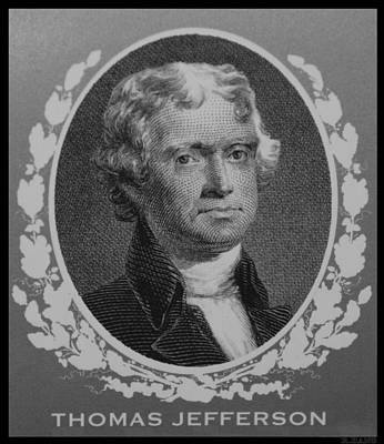 Thomas Jefferson In Black And White Print by Rob Hans